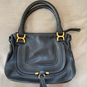 Chloe Marcie Med Black Leather Stitched Satchel